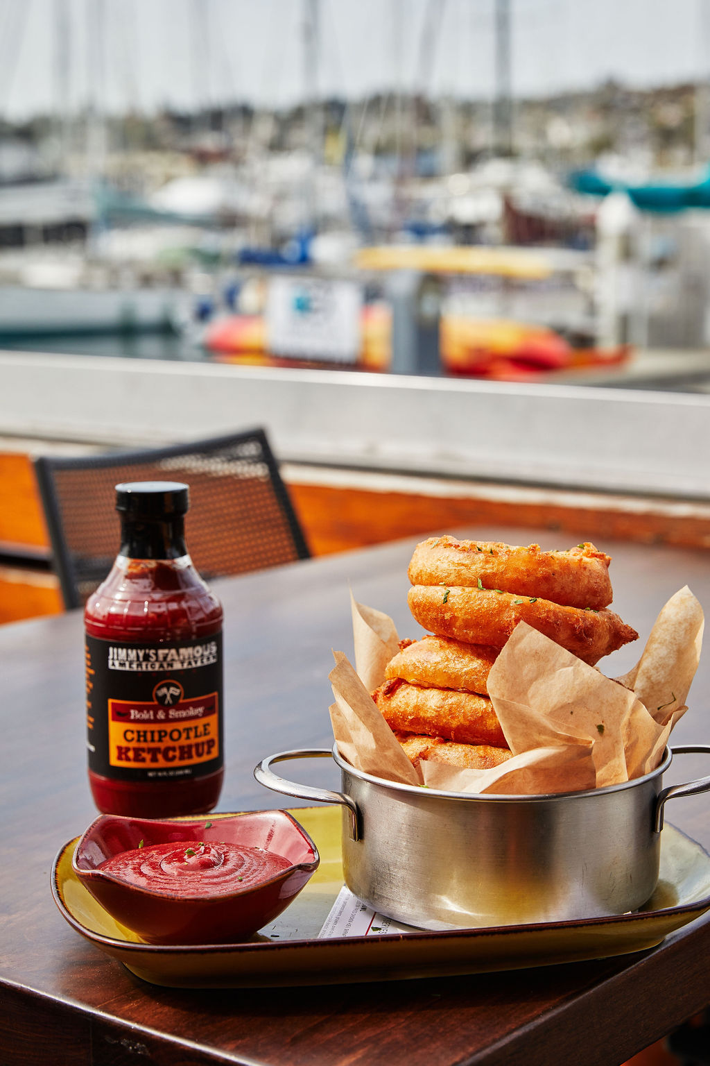 Beer battered onion rings served with homemade Chipotle Ketchup