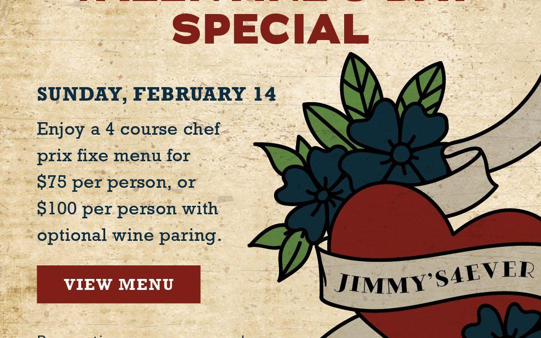 Jimmy's Famous Valentine's Day Menu